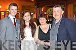 Eoghan McGivergan, Sarah Dillane, Alice O'Sullivan and Brian McGivergan, enjoying the Stacks social in the Meadowlands Hotel, Tralee on Saturday night.