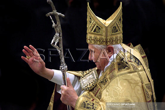 Pope Benedict XVI blesses the faithful in Rome's St. Paul Outside the Walls Basilica, during a prayer service to mark the end of prayer week for Christian Unity, Thursday, Jan. 25, 2007
