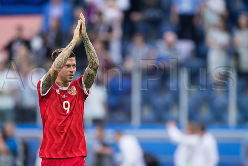 17th June 2017, St Petersburg, Russia; FIFA 2017 Confederations Cup football, Russia versus New Zealand; Group A - Saint Petersburg Stadium,  Russia's Fedor Smolov thanks the fans after the Confederations Cup Group A soccer match between Russia and New Zealand at the stadium in Saint Petersburg, Russia, 17 June 2017.