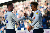 Preston North End's Callum Robinson celebrates scoring his side's fourth goal with Alan Browne<br /> <br /> Photographer Richard Martin-Roberts/CameraSport<br /> <br /> The EFL Sky Bet Championship - Preston North End v Wigan Athletic - Saturday 6th October 2018 - Deepdale Stadium - Preston<br /> <br /> World Copyright &not;&copy; 2018 CameraSport. All rights reserved. 43 Linden Ave. Countesthorpe. Leicester. England. LE8 5PG - Tel: +44 (0) 116 277 4147 - admin@camerasport.com - www.camerasport.com
