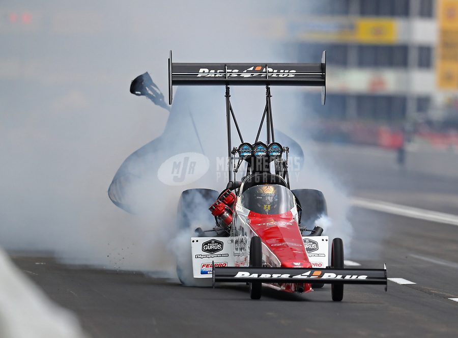 Apr 13, 2019; Baytown, TX, USA; NHRA top fuel driver Clay Millican during qualifying for the Springnationals at Houston Raceway Park. Mandatory Credit: Mark J. Rebilas-USA TODAY Sports
