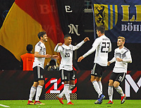 celebrate the goal, Torjubel zum 3:0 von Serge Gnabry (Deutschland Germany) mit Jonas Hector (Deutschland Germany), Kai Havertz (Deutschland Germany), Timo Werner (Deutschland Germany) - 15.11.2018: Deutschland vs. Russland, Red Bull Arena Leipzig, Freundschaftsspiel DISCLAIMER: DFB regulations prohibit any use of photographs as image sequences and/or quasi-video.
