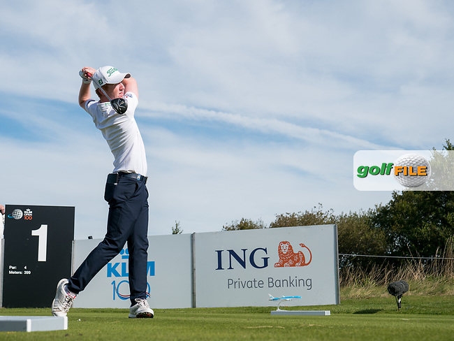 Gavin Moynihan (IRL) in action on the 1st hole during the final round at the KLM Open, The International, Amsterdam, Badhoevedorp, Netherlands. 15/09/19.<br /> Picture Stefano Di Maria / Golffile.ie<br /> <br /> All photo usage must carry mandatory copyright credit (© Golffile   Stefano Di Maria)
