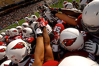 Nov. 6, 2005; Tempe, AZ, USA; The Arizona Cardinals huddle prior to the game against the Seattle Seahawks at Sun Devil Stadium. Mandatory Credit: Mark J. Rebilas