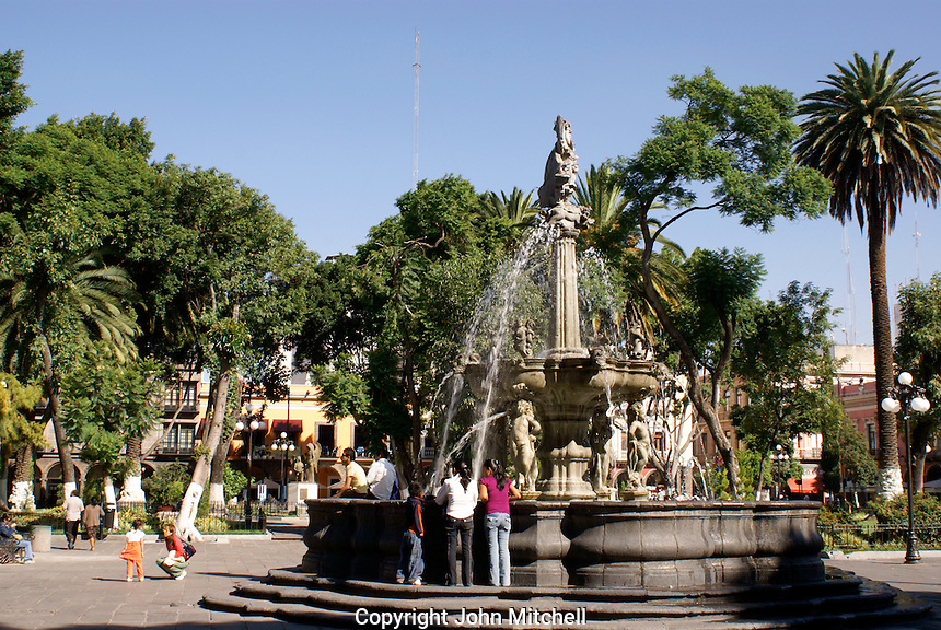 Fountain in the main square, city of Puebla, Mexico. The historical center of Puebla is a UNESCO World Heritage Site..