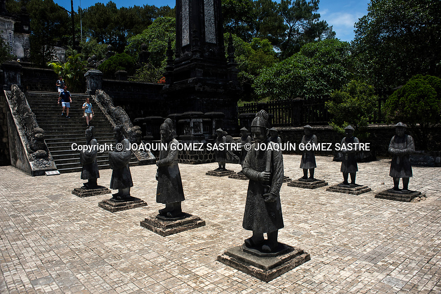 Sculptures at the Imperial Tomb of Khai Dinh in Hue City<br /> HUE-VIETNAM