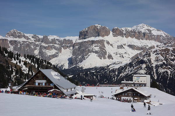 Mid station at Ciampac Ski Area in the Dolomites, Canazei, Italy,