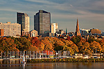 Sunset over the Beacon Hill skyline and the Charles River in Boston, MA, USA