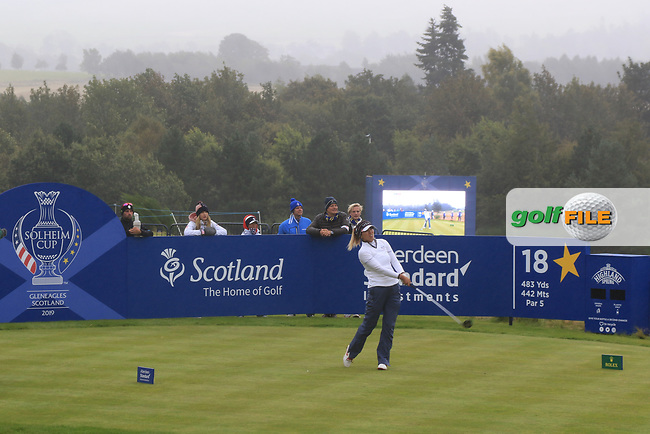 Annie Park of Team USA on the 18th tee during Day 2 Fourball at the Solheim Cup 2019, Gleneagles Golf CLub, Auchterarder, Perthshire, Scotland. 14/09/2019.<br /> Picture Thos Caffrey / Golffile.ie<br /> <br /> All photo usage must carry mandatory copyright credit (© Golffile | Thos Caffrey)