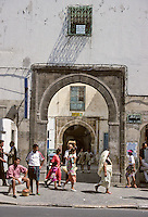 Tunisia.  Tunis Medina.  Bab Jedid (New Gate), 14th. Century, one of many Entrances to the Medina.