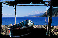 Fishing boat ,village of Scots Head, island of Dominica , West Indies. Scots Head Village, Dominica West Indies.