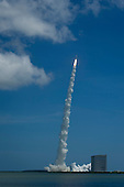 An Atlas V rocket launches with the Juno spacecraft payload from Space Launch Complex 41 at Cape Canaveral Air Force Station in Florida on Friday, August 5, 2011. The Juno spacecraft will make a five-year, 400-million-mile voyage to Jupiter, orbit the planet, investigate its origin and evolution with eight instruments to probe its internal structure and gravity field, measure water and ammonia in its atmosphere, map its powerful magnetic field and observe its intense auroras.  .Mandatory Credit: Bill Ingalls / NASA via CNP