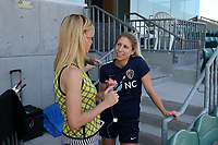 Cary, North Carolina  - Saturday August 19, 2017: McCall Zerboni and Lifetime broadcaster Aly Wagner prior to a regular season National Women's Soccer League (NWSL) match between the North Carolina Courage and the Washington Spirit at Sahlen's Stadium at WakeMed Soccer Park. North Carolina won the game 2-0.