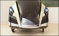 BNPS.co.uk (01202 558833)<br /> Pic: PhilYeomans/BNPS<br /> <br /> The much-maligned Sinclair C5 electric tricycle that fell flat on its face in the 1980s has been reborn by the original inventor's nephew. <br /> <br /> Eccentric businessman Sir Clive Sinclair is famous for some groundbreaking inventions but none more so than his disastrous one person vehicle.<br /> <br /> Sir Clive touted his plastic-covered tricycle as a leap in personal transportation only for it to be reviewed as one of the greatest marketing bombs of post-war Britain. <br /> <br /> Grant Sinclair has kept faith in his uncle's memorable design and has spent the last four years reimagining it in the hope his fairs better in a world where bike lanes are common place.
