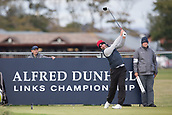 5th October 2017, The Old Course, St Andrews, Scotland; Alfred Dunhill Links Championship, first round; Paul Waring of England tees off on the seventeenth hole during the first round at the Alfred Dunhill Links Championship on the Old Course, St Andrews