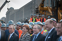 New York Mayor Michael Bloomberg, left, with other dignitaries and politicians at the groundbreaking ceremony for the long anticipated and controversial Hudson Yards project on the West Side of Manhattan in New York on Tuesday, December 4, 2012. The Hudson Yards, built over the LIRR yards, represents the largest real estate development in New York since Rockefeller Center. When finished the 26 acre site will have over 13 million square feet of commercial, residential and retail space. (© Richard B. Levine)