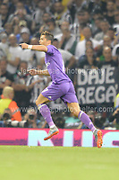 Christiano Ronaldo of Real Madrid scores the first goal  during the UEFA Champions league final  between Juventus and Real Madrid at the National Stadium of Wales on Saturday 3rd June 2017<br /> <br /> <br /> Jeff Thomas Photography -  www.jaypics.photoshelter.com - <br /> e-mail swansea1001@hotmail.co.uk -<br /> Mob: 07837 386244 -