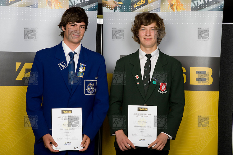 Boys Tennis finalists Trent Okeeffe & Daniel Davies. ASB College Sport Young Sportperson of the Year Awards 2008 held at Eden Park, Auckland, on Thursday November 13th, 2008.