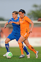 Meghan Schnur (7) of Sky Blue FC and Kelly Smith (10) of the Boston Breakers battle for the ball. Sky Blue FC and the Boston Breakers played to a 0-0 tie during a Women's Professional Soccer (WPS) match at Yurcak Field in Piscataway, NJ, on May 29, 2010.