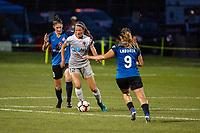Kansas City, MO - Saturday July 22, 2017: Yael Averbuch, Ashley Hatch during a regular season National Women's Soccer League (NWSL) match between FC Kansas City and the North Carolina Courage at Children's Mercy Victory Field.