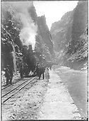 D&amp;RG Mogul #510 standing near the Hanging Bridge at Royal Gorge so the passengers can explore.<br /> D&amp;RG  Royal Gorge, CO  ca. 1898-1911