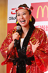 """July 31, 2018, Tokyo, Japan - Japanese professional figure skater Mai Asada attends McDonald's Japan's promotional event of """"local gourmet burgers"""" in Tokyo on Tuesday, July 31, 2018. Asada and Japanese comedian Dandy Sakano with singer Hiromi Go push their hometown cuisine tasted burgers at the event.     (Photo by Yoshio Tsunoda/AFLO) LWX -ytd-"""