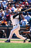 SAN FRANCISCO, CA - Jeff Kent of the San Francisco Giants bats against the Milwaukee Brewers during a game at AT&T Park in San Francisco, California on April 21, 2001. Photo by Brad Mangin