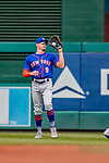 22 September 2018: New York Mets outfielder Brandon Nimmo gets an out in the first inning against the Washington Nationals at Nationals Park in Washington, DC. The Nationals shut out the Mets 6-0 in the 3rd game of their 4-game series. Mandatory Credit: Ed Wolfstein Photo *** RAW (NEF) Image File Available ***