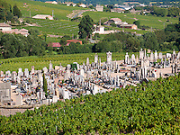 France, FRA, Beaujolais, Fleurie, 2010Aug15: The Fleurie graveyard amidst the vineyards.