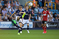 Shaun Hutchinson of Millwall kicks the ball clear during the Sky Bet Championship match between Millwall and Ipswich Town at The Den, London, England on 15 August 2017. Photo by Alan  Stanford / PRiME Media Images.