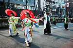Performers dress as geisha and samurai perform a skit during the 25th Annual St. Patrick's Day Parade on Sunday, March 19, 2017 in Tokyo, Japan.<br /> Photo by Kevin Clifford