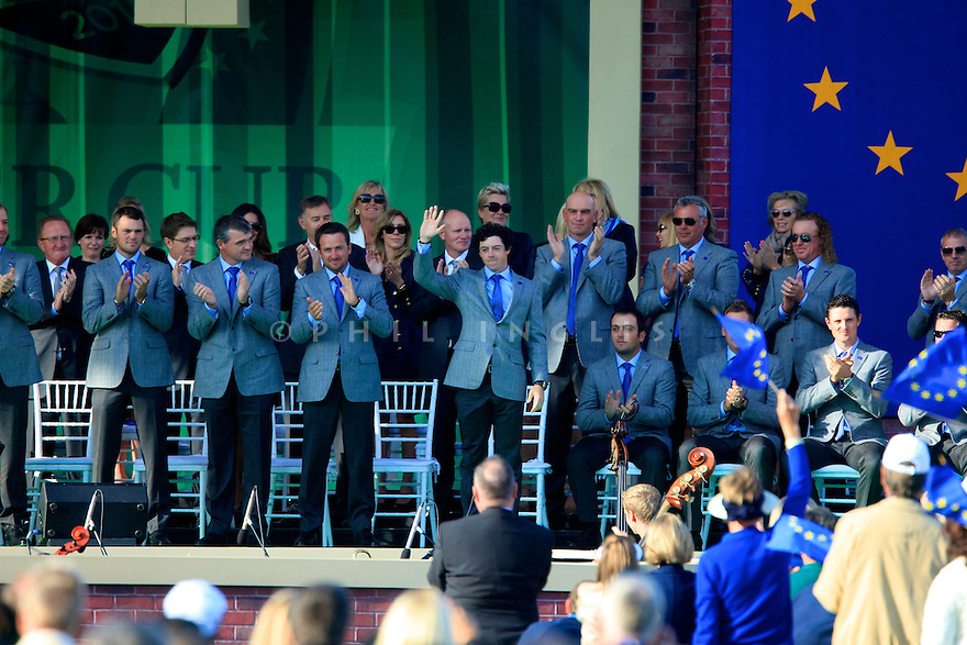 Rory McIlroy of Team Europe during the opening ceremony of the 39th Ryder Cup matches, Medinah Country Club, Chicago, Illinois, USA.  28-30 September 2012 (Picture Credit / Phil Inglis)