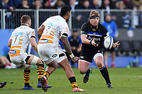 Jacques van Rooyen of Bath Rugby passes the ball. Heineken Champions Cup match, between Bath Rugby and Wasps on January 12, 2019 at the Recreation Ground in Bath, England. Photo by: Patrick Khachfe / Onside Images