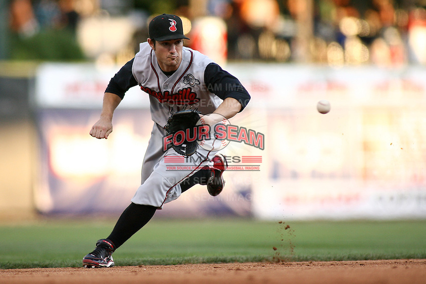 August 12, 2009: Adam Heether of the Nashville Sounds, Pacific Cost League Triple A affiliate of the Milwaukee Brewers, during a game at the Spring Mobile Ballpark in Salt Lake City, UT.  Photo by:  Matthew Sauk/Four Seam Images