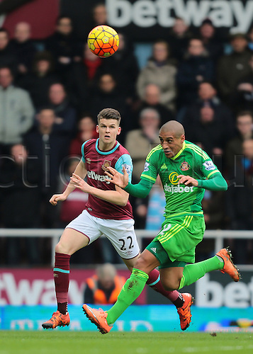 27.02.2016. Boleyn Ground, London, England. Barclays Premier League. West Ham versus Sunderland. Sunderland Midfielder Wahbi Khazri focuses on he ball as West Ham United's Sam Byram adds pressure