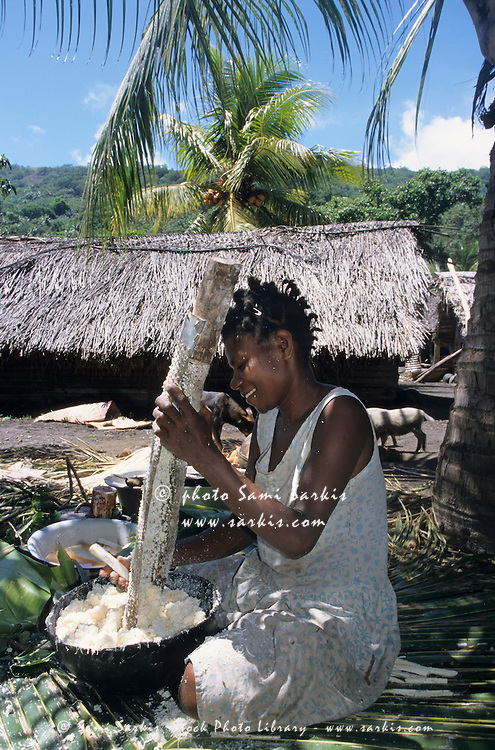 Women preparing traditional laplap dishes, Sulphur Bay Village, Ipekel Ipeukel, Tanna Island, Vanuatu.