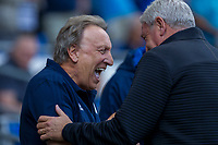 Cardiff City manager Neil Warnock shares a joke with Aston Villa manager Steve Bruce ahead of the Sky Bet Championship match between Cardiff City and Aston Villa at the Cardiff City Stadium, Cardiff, Wales on 12 August 2017. Photo by Mark  Hawkins / PRiME Media Images.