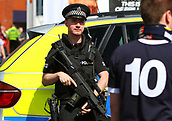 June 10th 2017, Hampden park, Glasgow, Scotland; World Cup 2018 Qualifying football, Scotland versus England; Armed police in attendance for the match