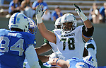 October 22, 2016 - Colorado Springs, Colorado, U.S. -   Hawaii offensive lineman, Leo Koloamatangi #78, signals a second half Rainbow Warrior touchdown during the NCAA Football game between the University of Hawaii Rainbow Warriors and the Air Force Academy Falcons, Falcon Stadium, U.S. Air Force Academy, Colorado Springs, Colorado.  Hawaii defeats Air Force in double overtime 43-27.
