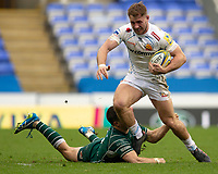 Exeter Chiefs' Sam Hill is tackled by London Irish's Fergus Mulchrone<br /> <br /> Photographer Bob Bradford/CameraSport<br /> <br /> Aviva Premiership Round 20 - London Irish v Exeter Chiefs - Sunday 15th April 2018 - Madejski Stadium - Reading<br /> <br /> World Copyright &copy; 2018 CameraSport. All rights reserved. 43 Linden Ave. Countesthorpe. Leicester. England. LE8 5PG - Tel: +44 (0) 116 277 4147 - admin@camerasport.com - www.camerasport.com