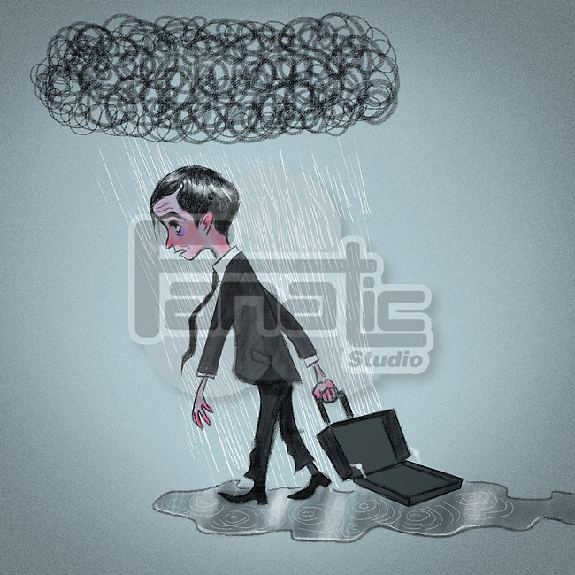 Business carrying an empty briefcase after losing his job