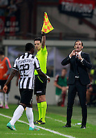 Calcio, Serie A: Milan vs Juventus, Milano, stadio San Siro, 20 settembre 2014.<br /> Juventus midfielder Kwadwo Asamoah, of Ghana, left, leaves the pitch as coach Massimiliano Allegri gives suggestions during the Italian Serie A football match between AC Milan and Juventus at Milan's San Siro stadium, 20 September 2014.<br /> UPDATE IMAGES PRESS/Isabella Bonotto