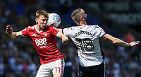 Bolton Wanderers' Aaron Wilbraham competing with Nottingham Forest's Ben Osborn<br /> <br /> Photographer Andrew Kearns/CameraSport<br /> <br /> The EFL Sky Bet Championship - Bolton Wanderers v Nottingham Forest - Sunday 6th May 2018 - Macron Stadium - Bolton<br /> <br /> World Copyright &copy; 2018 CameraSport. All rights reserved. 43 Linden Ave. Countesthorpe. Leicester. England. LE8 5PG - Tel: +44 (0) 116 277 4147 - admin@camerasport.com - www.camerasport.com