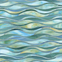 Oasis, a handmade mosaic shown in Peacock Topaz and Aquamarine jewel glass, is part of the Silk Road Collection by Sara Baldwin for New Ravenna. <br />