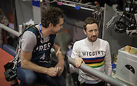 Sir Bradley Wiggins (GBR/Wiggins) chatting with former top sprinter/track rider turned cycling photographer Leon van Bon before the start of day 4<br /> <br /> 2016 Gent 6