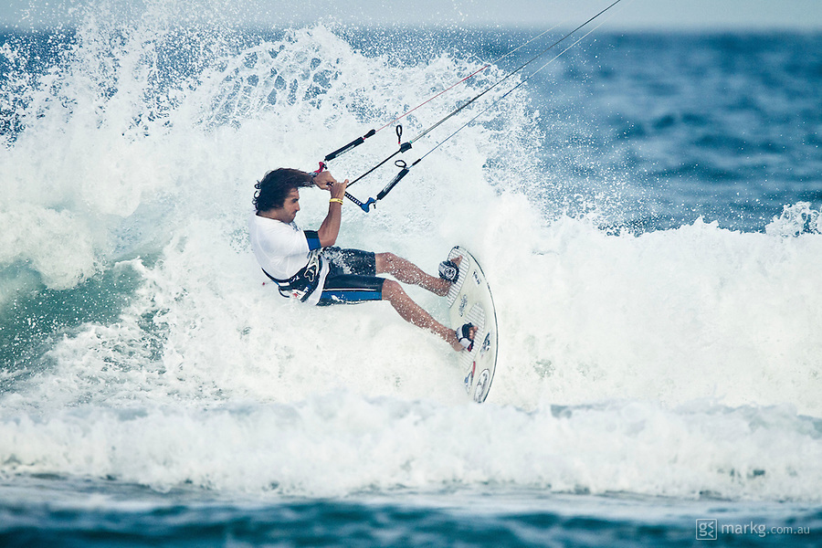 The last leg of the 2010 PKRA World Kiteboarding Tour has come to the Gold Coast, Australia - Abel Lago from Spain in a late afternoon round of the Mens Wave event.