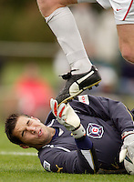 The Fire's goalkeeper D.J. Countess almost eats shoe after making a save. The MetroStars defeated the Chicago Fire 2-0 during the inaugural Hall of Fame game on Monday October 11, 2004 at At-A-Glance Field at the National Soccer Hall of Fame and Museum, Oneonta, NY..