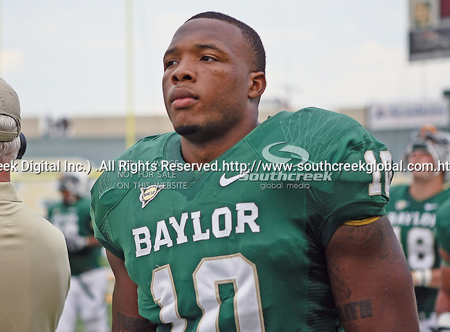 Baylor Bears defensive end Gary Mason (10) in action during the game between the Stephen F. Austin Lumberjacks and the Baylor Bears at the Floyd Casey Stadium in Waco, Texas. Baylor defeats SFA 48 to 0.