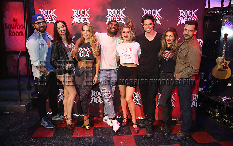 "Justin Colombo, Ashley E. Matthews, Katie Webber, Mekhai Lee, Leah Read, Michael Mahany, Autumn Guzzardi and Kevin Michael Raponey during the tech rehearsal for ""Rock of Ages"" 10th Anniversary Production on June 13, 2019 at the New World Stages in New York City."