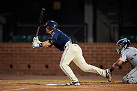 Mobile BayBears Connor Justus (7) hits a single during a Southern League game against the Jacksonville Jumbo Shrimp on May 7, 2019 at Hank Aaron Stadium in Mobile, Alabama.  Mobile defeated Jacksonville 2-0.  (Mike Janes/Four Seam Images)
